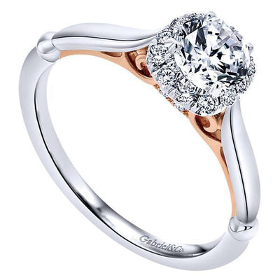 DIAMOND ENGAGEMENT RINGS - 14K White Gold .42cttw Blush Cushion Shaped Halo Diamond Engagement Ring