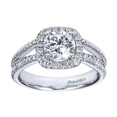 14K White Gold .55cttw Split-Shank French Pave Set Round Diamond Engagement Ring with Cushion Shaped Halo