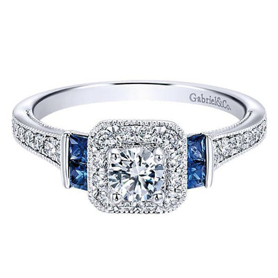 DIAMOND ENGAGEMENT RINGS - 14K White Gold .56cttw Vintage Diamond And Sapphire Halo Engagement Ring