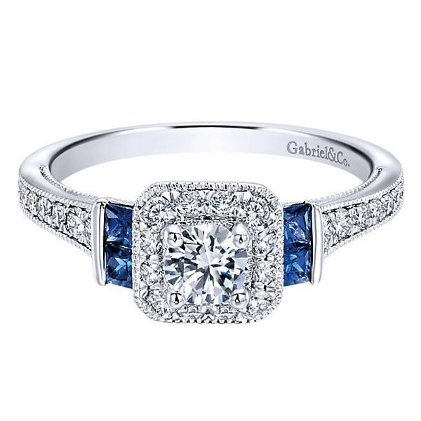 14k White Gold 56cttw Vintage Diamond And Sapphire Halo