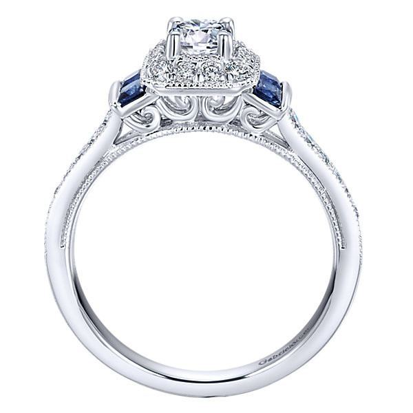 Women Rings Sapphire and Diamonds Engagement Ring 14K White