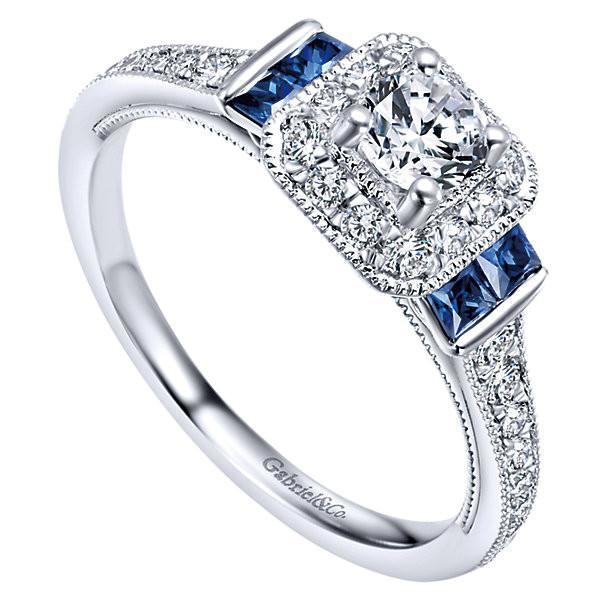 14K White Gold 56cttw Vintage Diamond and Sapphire Halo Engagement Ri Mull
