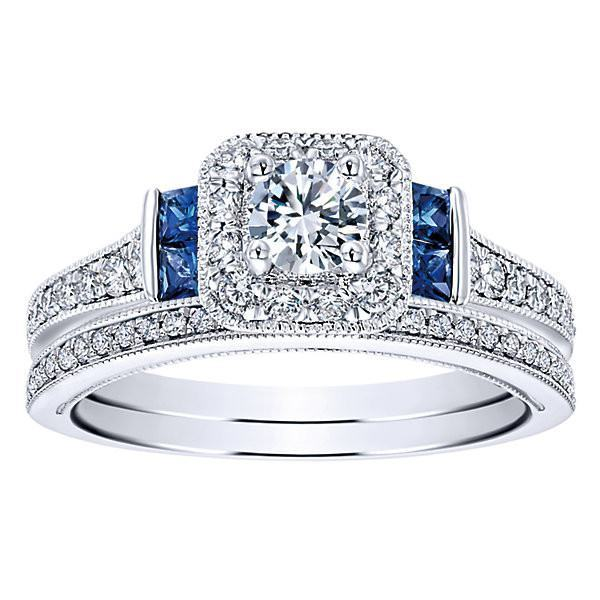 diamond engagement rings 14k white gold 56cttw vintage diamond and sapphire halo engagement ring - Sapphire And Diamond Wedding Rings