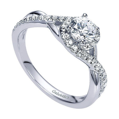DIAMOND ENGAGEMENT RINGS - 14K White Gold .59cttw Crossover Halo Round Diamond Engagement Ring