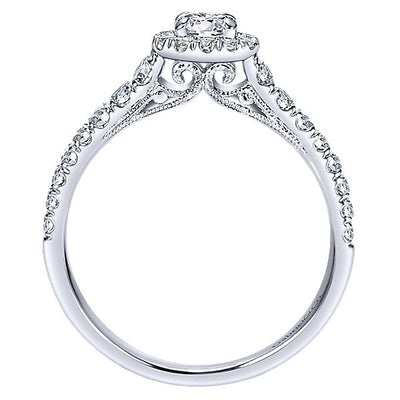 DIAMOND ENGAGEMENT RINGS - 14K White Gold .62cttw Halo Round Diamond Engagement Ring