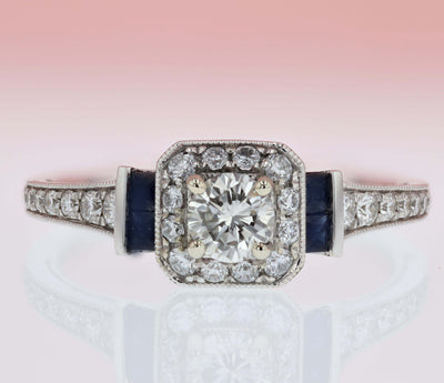 14K White Gold .63cttw Vintage Diamond and Sapphire Halo Engagement Ring