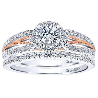 DIAMOND ENGAGEMENT RINGS - 14K White Gold .66cttw Blush Split Shank Halo Diamond Engagement Ring