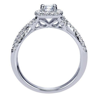DIAMOND ENGAGEMENT RINGS - 14K White Gold .67cttw Criss-Cross Halo Diamond Engagement Ring