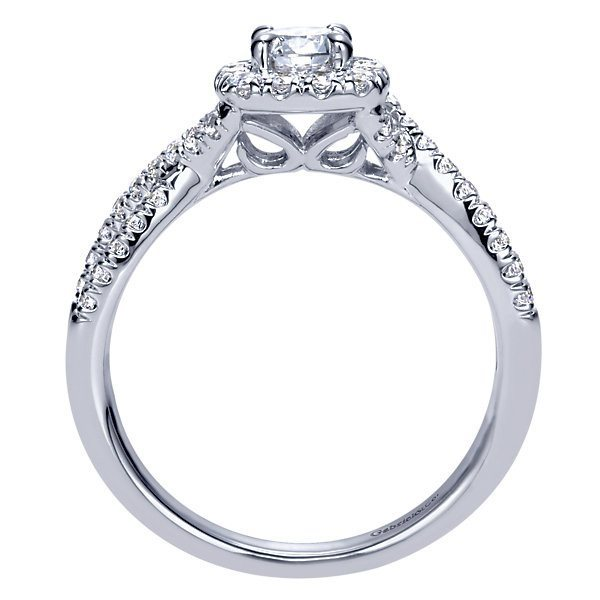 14k White Gold 67cttw Criss Cross Halo Diamond Engagement