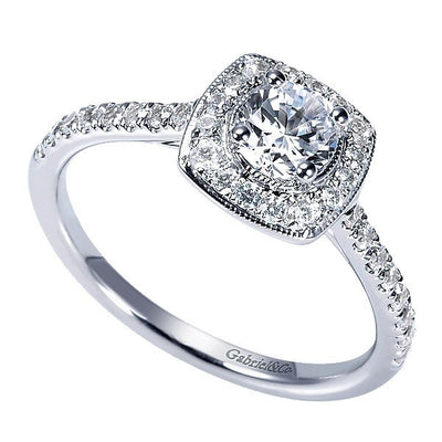DIAMOND ENGAGEMENT RINGS - 14K White Gold .67cttw Cushion Shaped Halo Round Diamond Engagement Ring