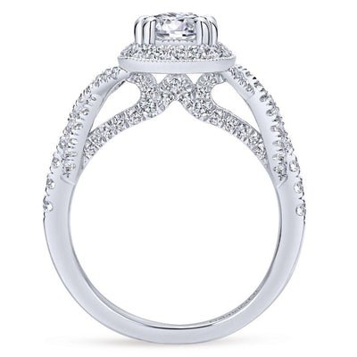 14K White Gold .67cttw Cushion Shaped Halo With Unique Crossover Shank Round Diamond Engagement Ring