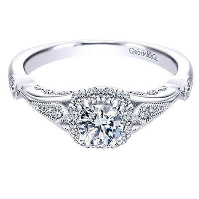 DIAMOND ENGAGEMENT RINGS - 14K White Gold .67cttw Vintage Cushion Halo Diamond Engagement Ring