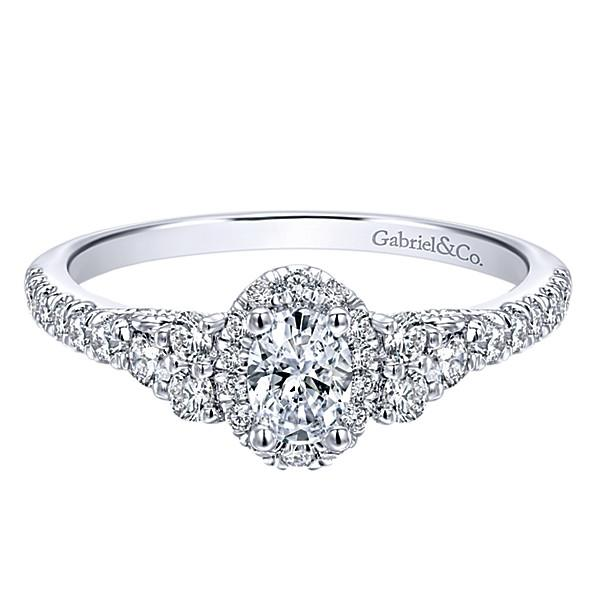 14k White Gold 72cttw Oval Halo Diamond Engagement Ring With Cluster Mullen Jewelers