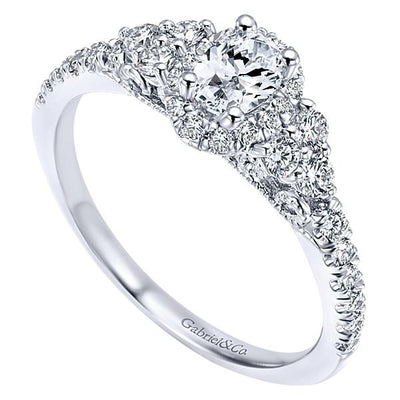 DIAMOND ENGAGEMENT RINGS - 14K White Gold .72cttw Oval Halo Diamond Engagement Ring With Cluster Shank