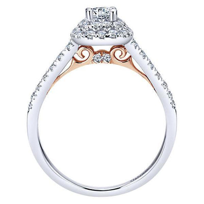 DIAMOND ENGAGEMENT RINGS - 14K White Gold .73cttw Blush Cushion Double Halo Diamond Engagement Ring