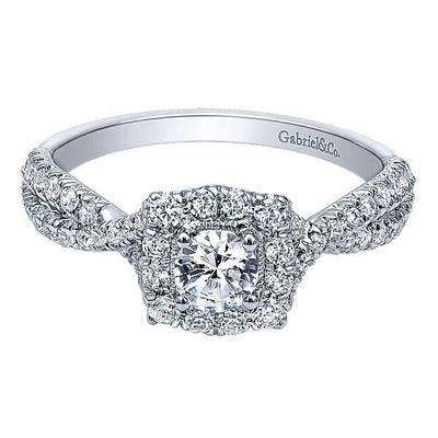 DIAMOND ENGAGEMENT RINGS - 14K White Gold .73cttw Cushion Halo Diamond Engagement Ring With Crossover Shank