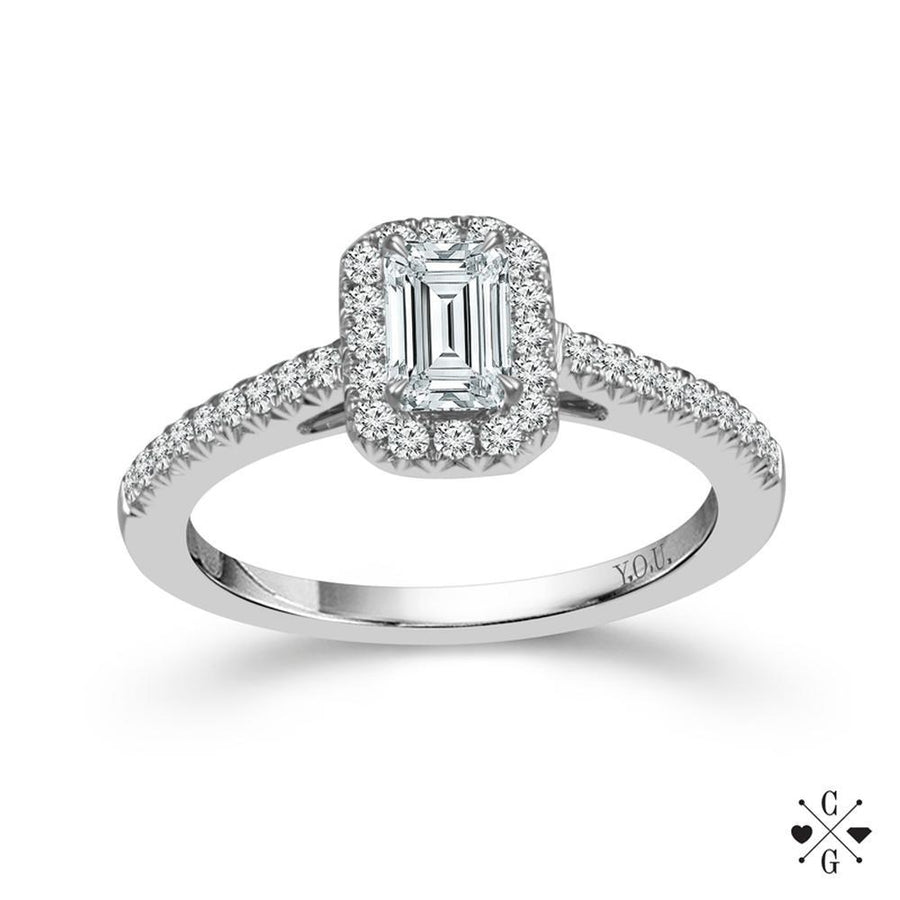 Diamond Engagement Rings 14k White Gold 75cttw Emerald Cut Halo Ring: 3 Band Wedding Rings Awesome At Websimilar.org