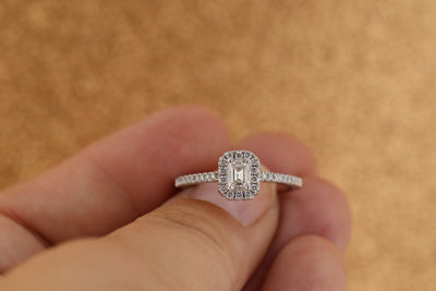 14K White Gold .75cttw Emerald Cut Halo Diamond Engagement Ring