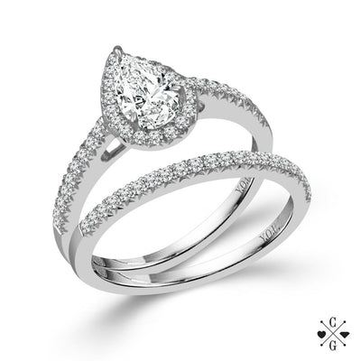 DIAMOND ENGAGEMENT RINGS - 14K White Gold .75cttw Pear Shaped Halo Diamond Engagement Ring