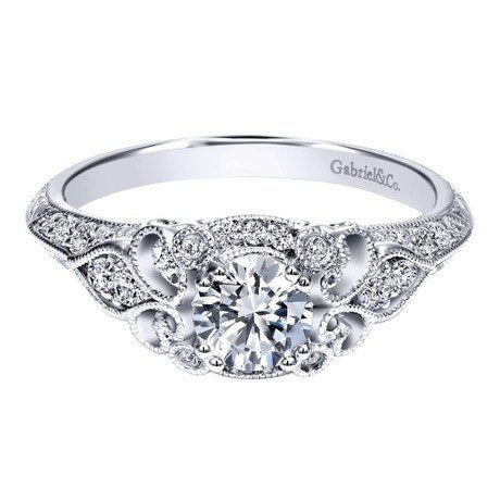 diamond engagement rings 14k white gold 76cttw ornate vintage style round diamond engagement ring - Vintage Style Wedding Rings