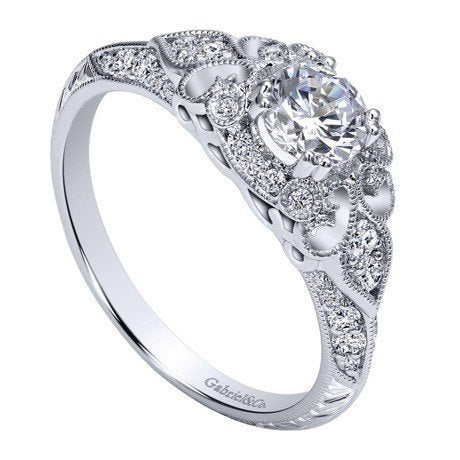 14k White Gold 76cttw Ornate Vintage Style Round Diamond