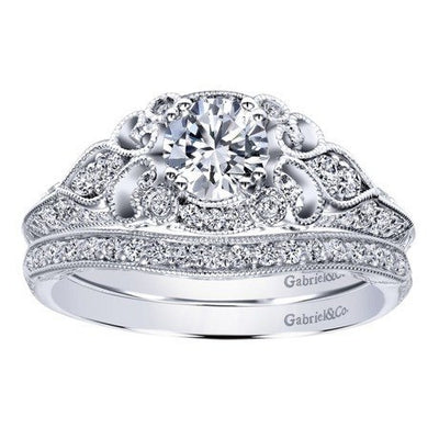 DIAMOND ENGAGEMENT RINGS - 14K White Gold .76cttw Ornate Vintage Style Round Diamond Engagement Ring With Bead Set Diamonds