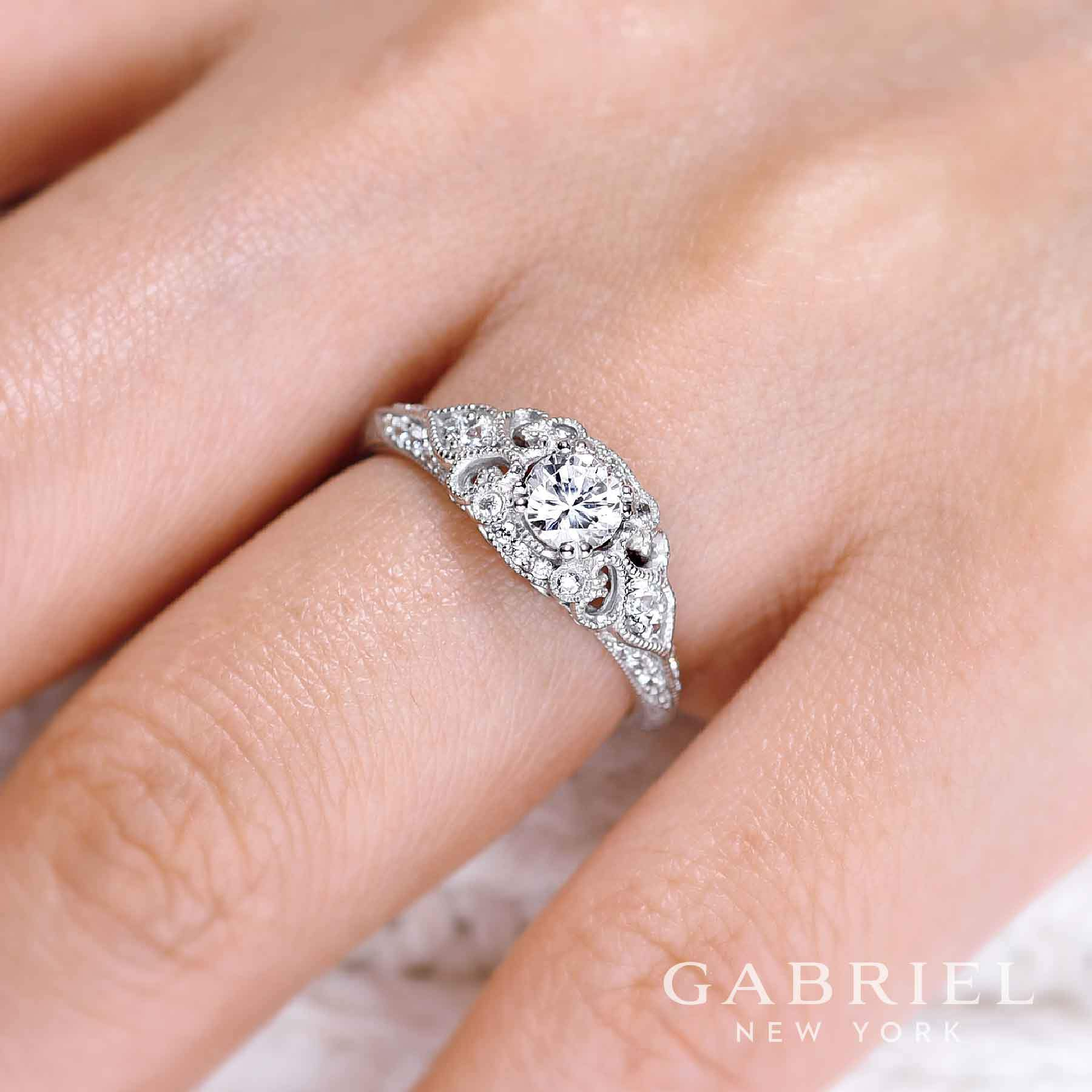 14K White Gold .76cttw Ornate Vintage Style Round Diamond Engagement ...