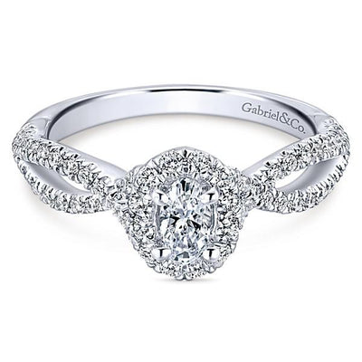 DIAMOND ENGAGEMENT RINGS - 14K White Gold .78cttw Oval Halo Diamond Engagement Ring With Crossover Shank