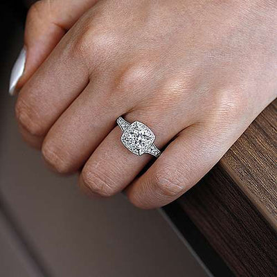14K White Gold .80cttw Cushion Shaped Halo With Tapered Shank Round Diamond Engagement Ring