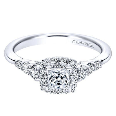 DIAMOND ENGAGEMENT RINGS - 14K White Gold .80cttw Petite Princess Cut Halo Diamond Engagement Ring