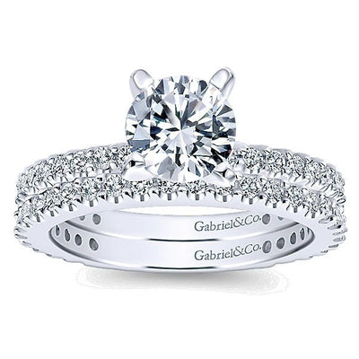 DIAMOND ENGAGEMENT RINGS - 14K White Gold .81cttw Pave Round Diamond Engagement Ring