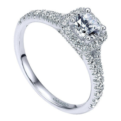 DIAMOND ENGAGEMENT RINGS - 14K White Gold .83cttw Cushion Halo Round Diamond Engagement Ring