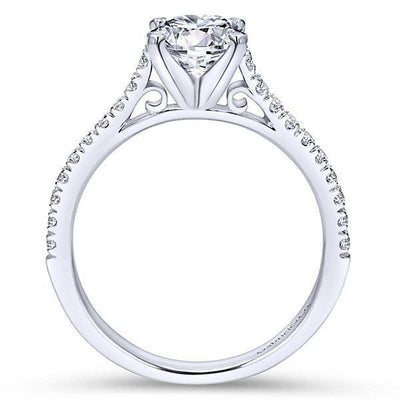DIAMOND ENGAGEMENT RINGS - 14K White Gold .83cttw Pave Set Round Diamond Engagement Mounting