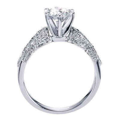 DIAMOND ENGAGEMENT RINGS - 14K White Gold .85cttw Victorian Inspired Round Diamond Engagement Ring With Marquise Shaped Stations