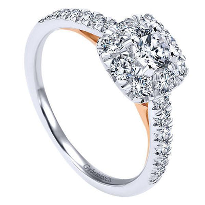 DIAMOND ENGAGEMENT RINGS - 14K White Gold .86cttw Blush Cushion Halo Diamond Engagement Ring