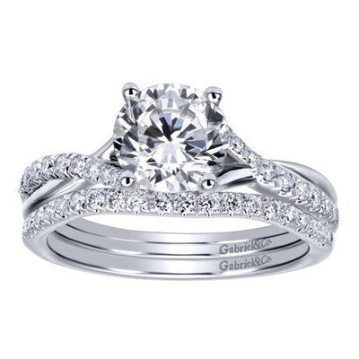 DIAMOND ENGAGEMENT RINGS - 14K White Gold .90cttw Criss-Crossed Round Diamond Engagement Ring