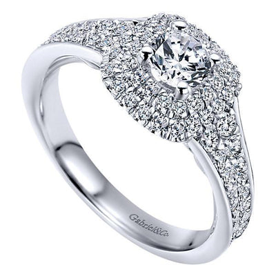 DIAMOND ENGAGEMENT RINGS - 14K White Gold .93cttw Double Cushion Halo Diamond Engagement Ring