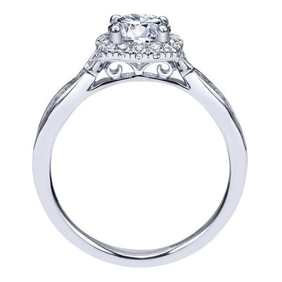 DIAMOND ENGAGEMENT RINGS - 14K White Gold .98cttw Flaired Halo Round Diamond Engagement Ring