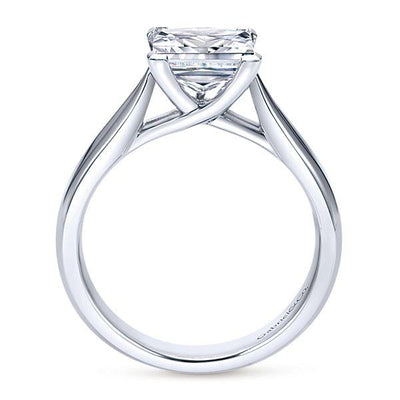 DIAMOND ENGAGEMENT RINGS - 14k White Gold Cathedral Princess Cut Solitaire Diamond Engagement Ring Mounting