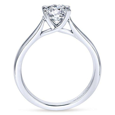 DIAMOND ENGAGEMENT RINGS - 14k White Gold Cathedral Solitaire Round Diamond Engagement Ring Mounting With Pinched Shank