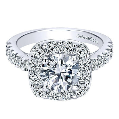 DIAMOND ENGAGEMENT RINGS - 14K White Gold  Channel Set Round Diamond Engagement Ring