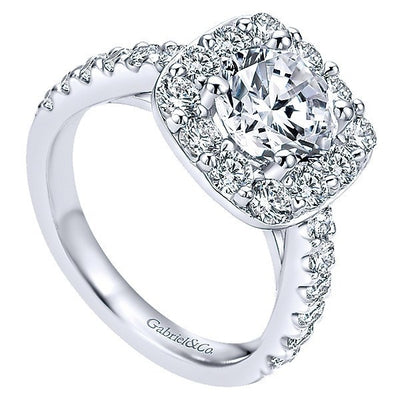 14K White Gold Large Pave Halo Round Diamond Engagement Ring ...