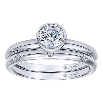 DIAMOND ENGAGEMENT RINGS - 14K White Gold Classic Bezel Set Round Diamond Engagement Ring