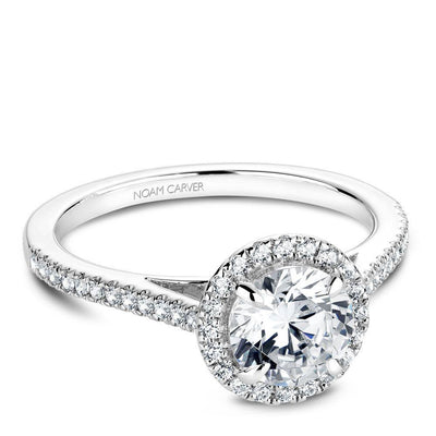 14K White Gold Classic Round Diamond Halo Engagement Ring
