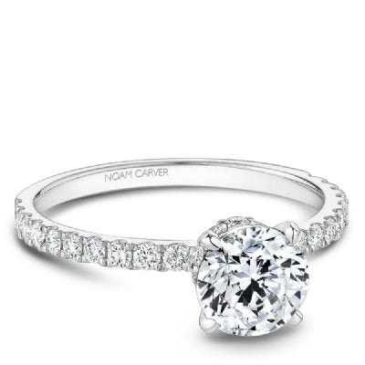 14K White Gold Classic Round Pave Diamond Engagement Ring