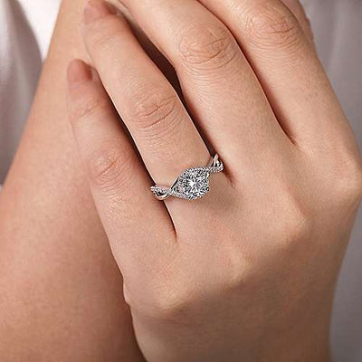 14K White Gold Criss Crossed Round Diamond Engagement Ring