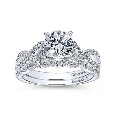 14K White Gold Crossover Diamond Engagement Ring