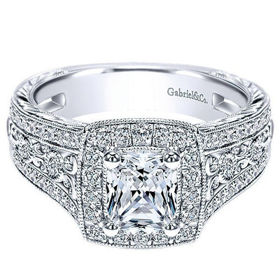 DIAMOND ENGAGEMENT RINGS - 14K White Gold Cushion Halo Radiant Cut Diamond Engagement Ring