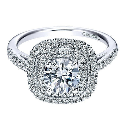 DIAMOND ENGAGEMENT RINGS - 14K White Gold Cushion Shaped Double Halo Round Diamond Engagement Ring