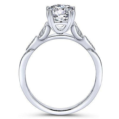 14K White Gold Dainty Floral Style Round Diamond Engagement Ring